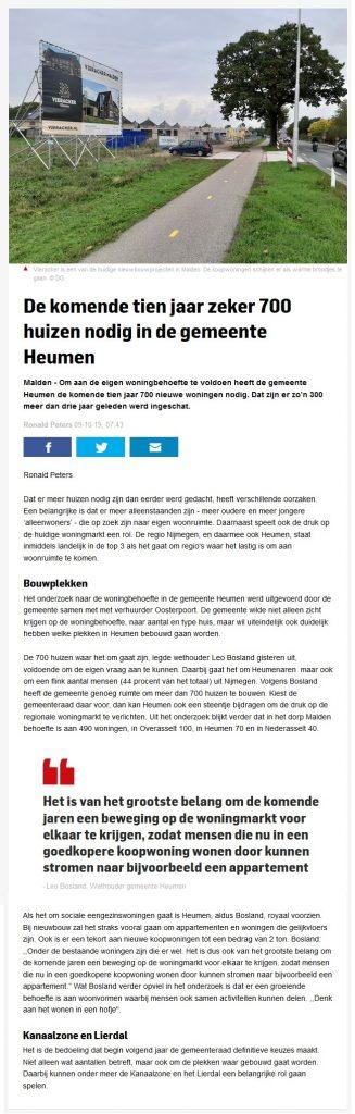 De komende tien jaar zeker 700 huizen nodig in gemeente Heumen